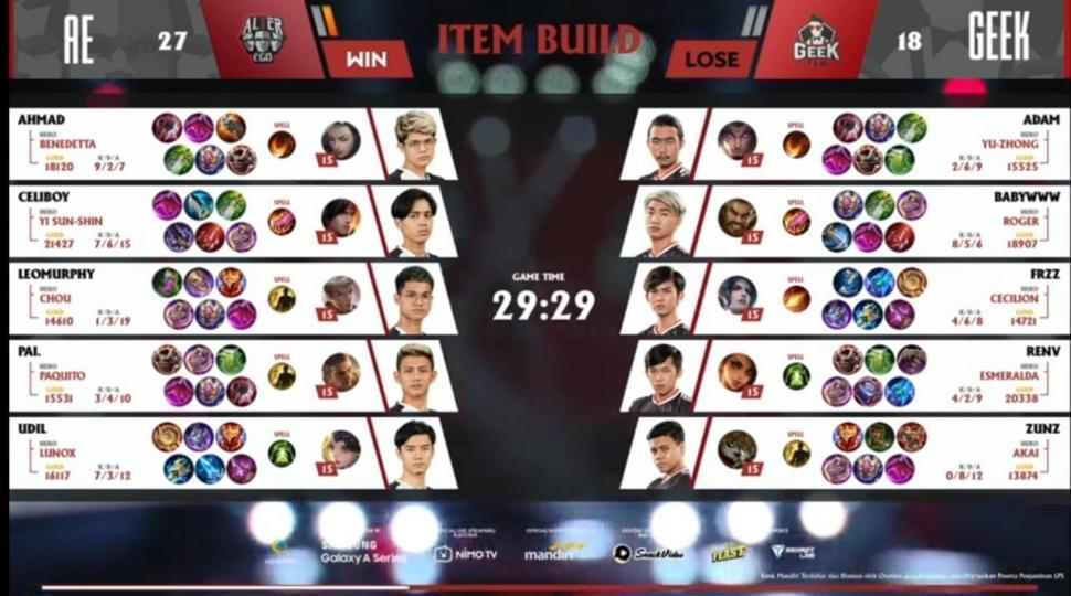 Game pertama Alter Ego vs Geek Fam. (youtube/MPL Indonesia)