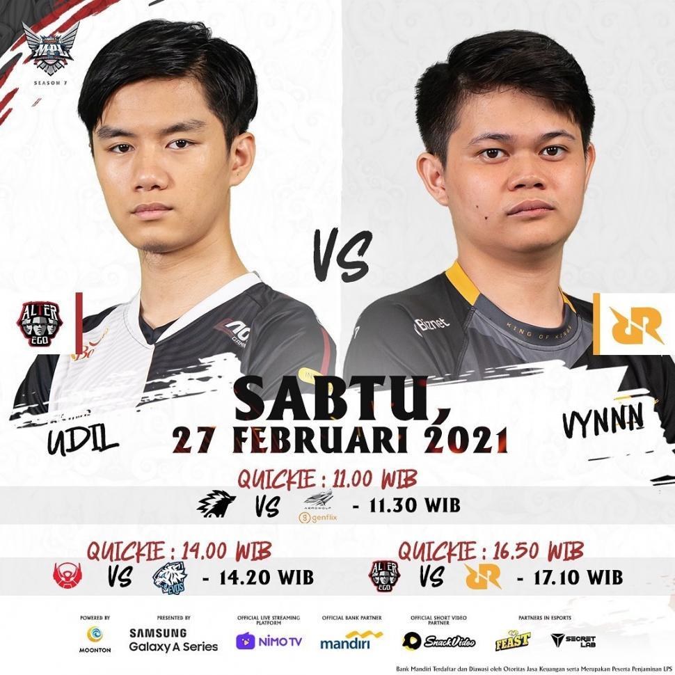 Jadwal MPL hari ini, Udil Alter Ego dan Vynn RRQ. (MPL Indonesia)