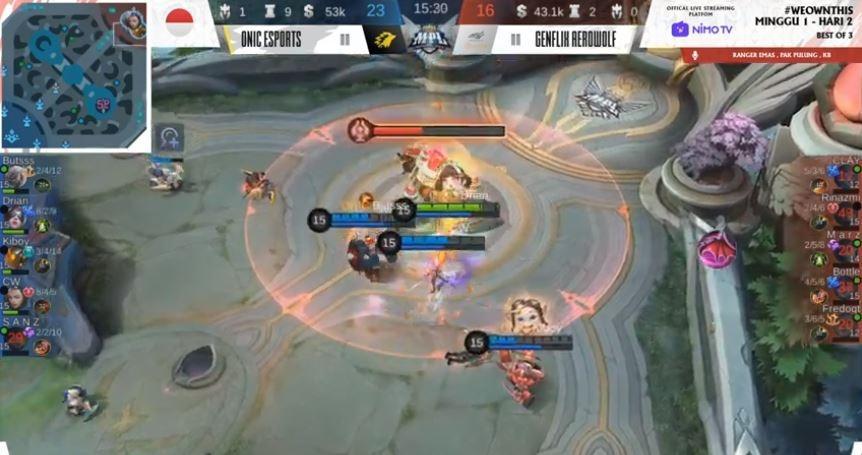 Game pertama Genflix Aerowolf vs ONIC Esports dimenangkan Aerowolf. (Youtube/ MPL Indonesia)