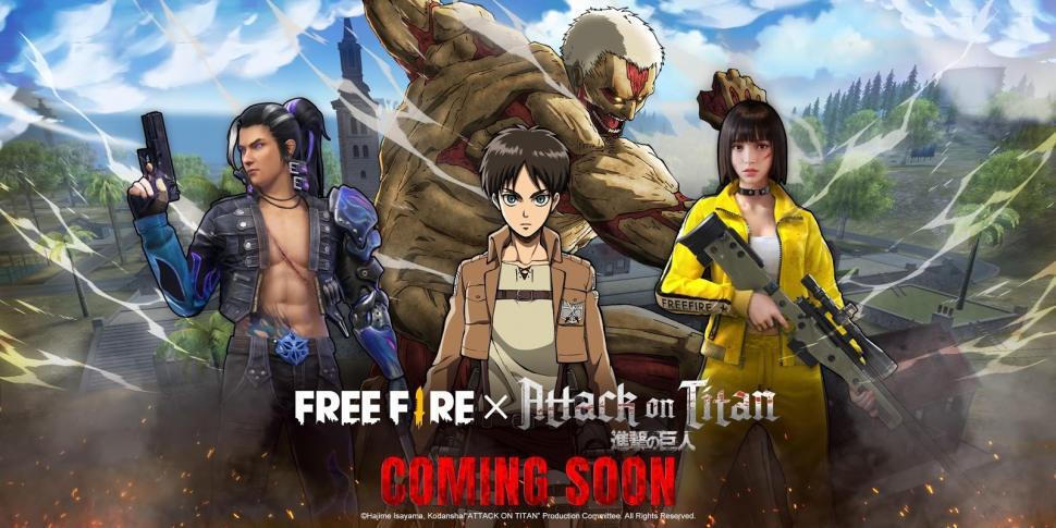 Kolaborasi Free Fire dengan Attack on Titan. (Garena)