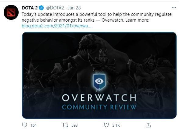 Dota 2 didukung dengan sistem Overwatch anyar. (Twitter/ Dota 2)
