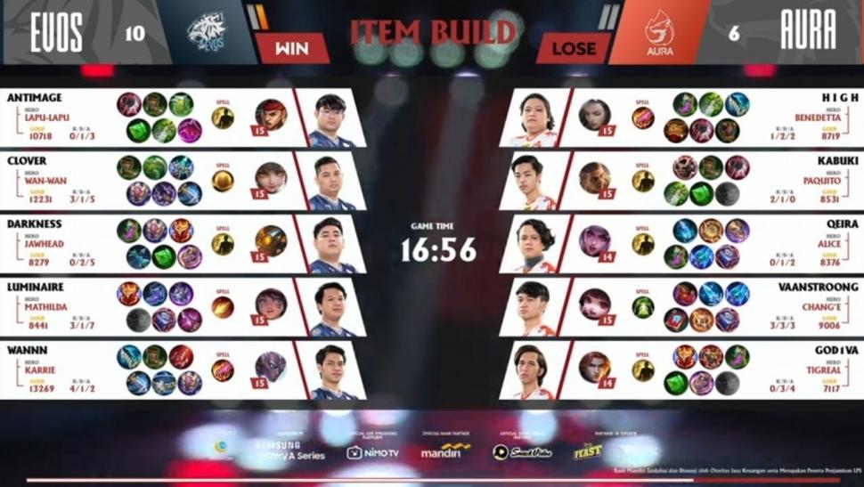 Game pertama EVOS Legends vs Aura Fire. (youtube/MPL Indonesia)