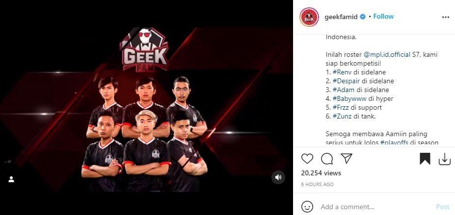 Roster Geek Fam di MPL Indonesia Season 7. (Instagram/ @geekfamid)