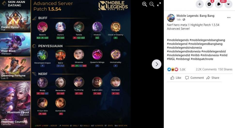 Update baru Mobile Legends memberikan Nerf pada hero META. (Facebook/ Mobile Legends Bang Bang)