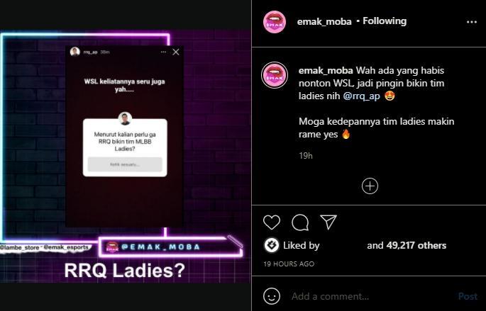 RRQ bentuk tim Mobile Legends ladies. (instagram/emak_moba)
