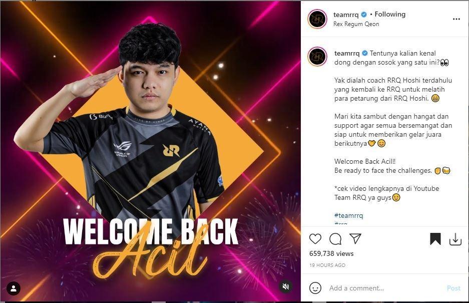 Acil jadi pelatih baru RRQ Hoshi. (Instagram/ TeamRRQ)