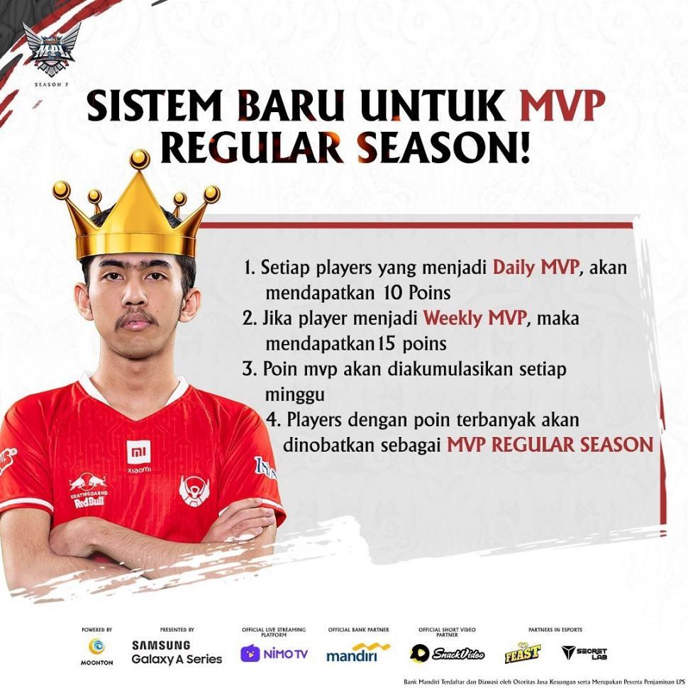 Peraturan MVP Regular Season Leaderboard. (Instagram/ mpl.id.official)