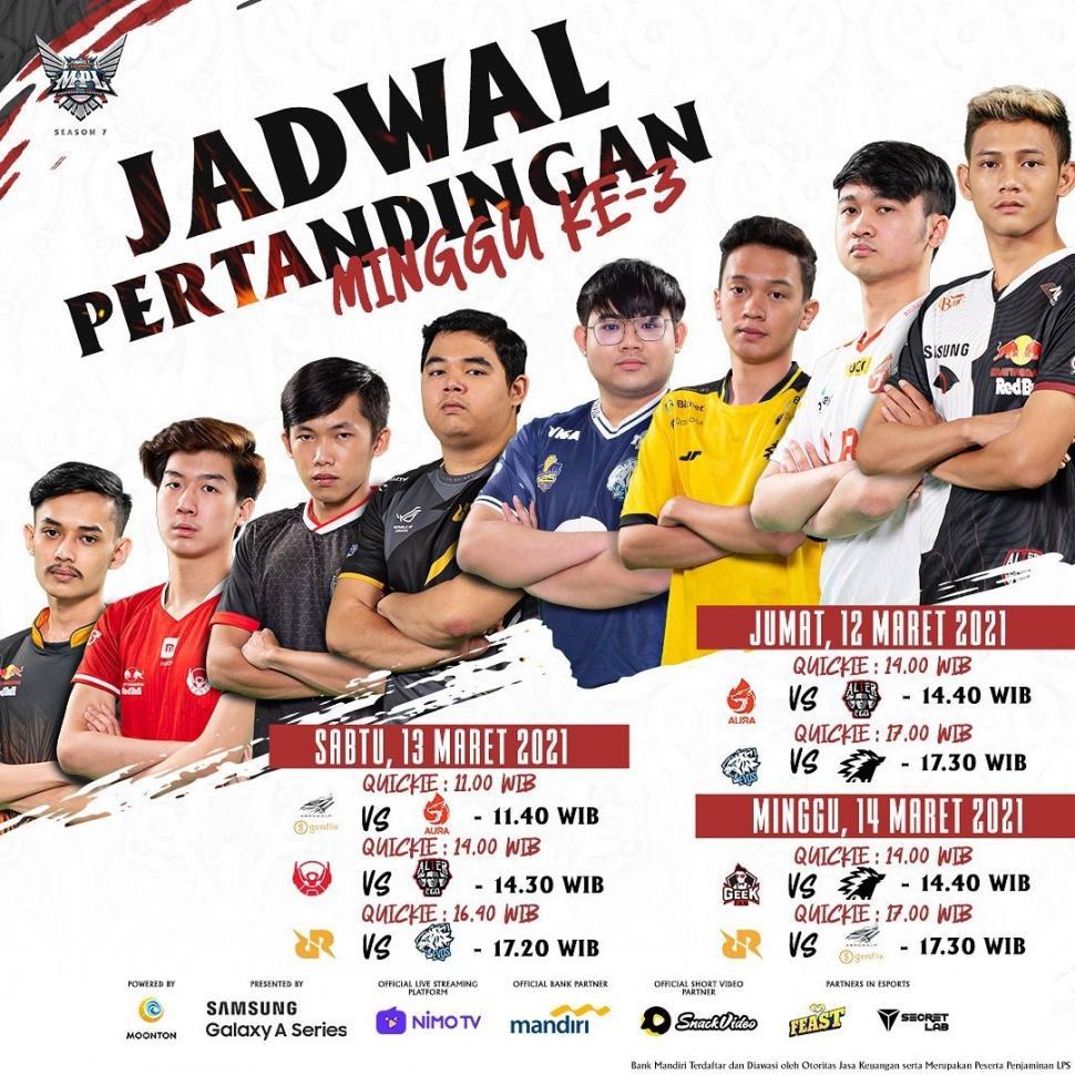 Jadwal MPL Season 7 pekan ketiga. (Instagram/ mpl.id.official)