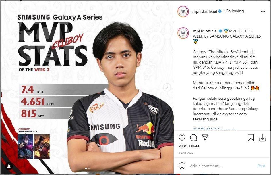 Celiboy jadi MVP of The Week pada pekan ketiga. (Instagram/ mpl.id.official)
