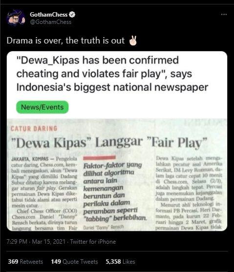 Gotham Chess soal Dewa Kipas (Twitter).