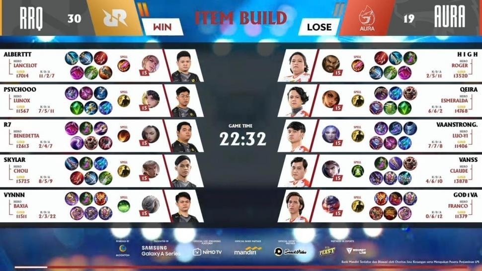 Game kedua RRQ Hoshi vs Aura Fire. (youtube/MPL Indonesia)