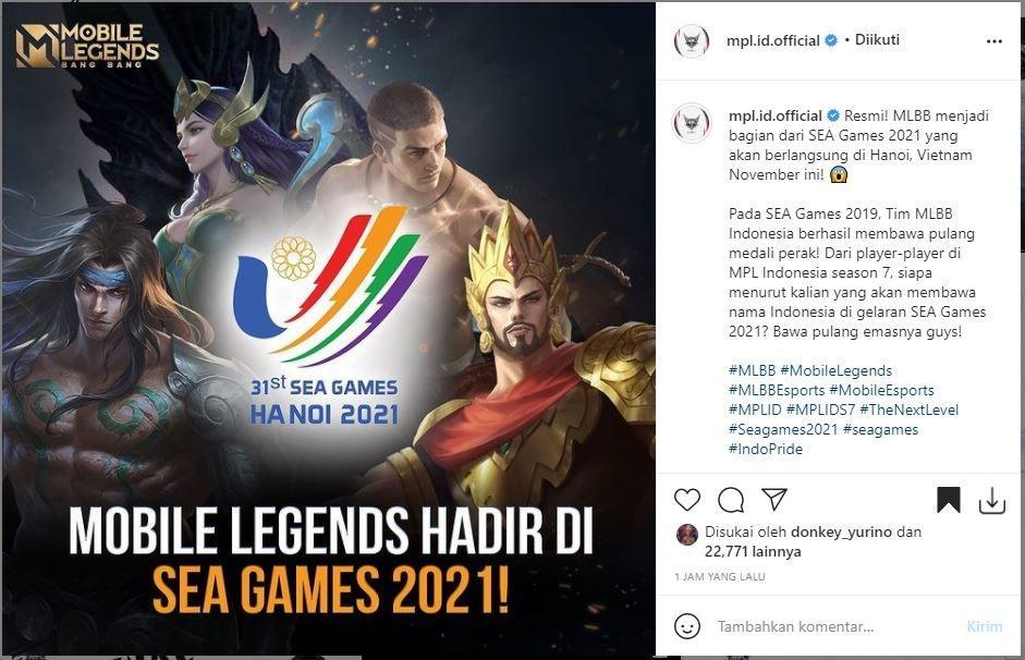 Mobile Legends masuk jadi bagian Sea Games 2021. (Instagram/ mpl.id.official)