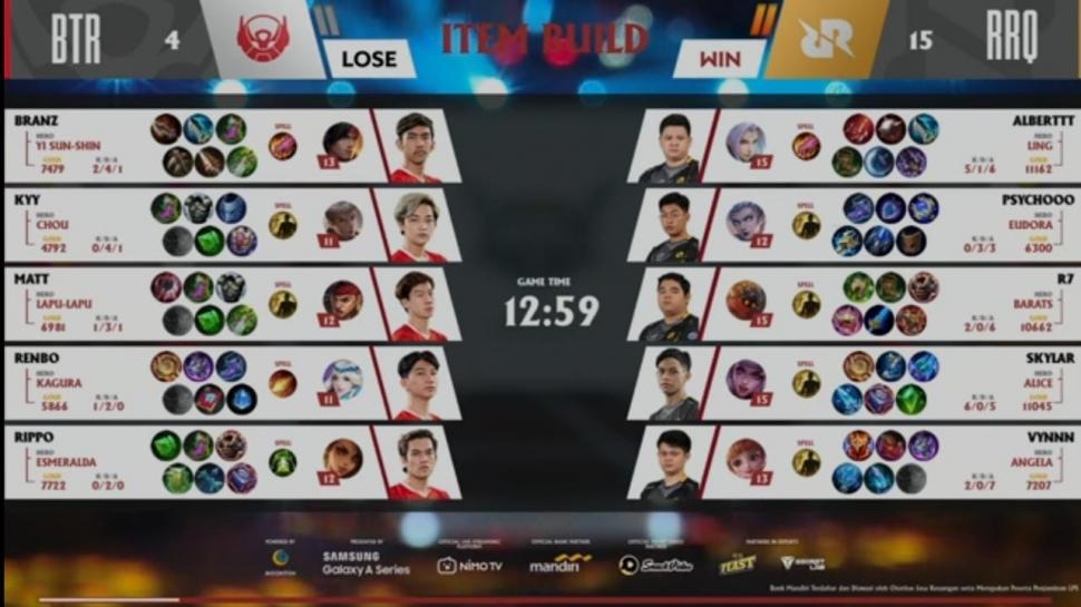 Game kedua RRQ Hoshi vs Bigetron Alpha di MPL Season 7 Week 5. (youtube/MPL Indonesia)