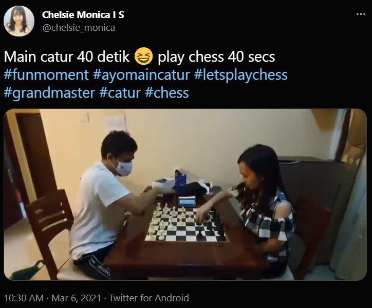 Grandmaster Susanto Megaranto dan Chelsie Monica. (Twitter/ chelsie_monica).
