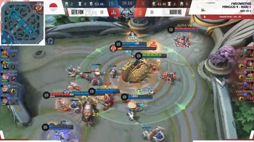 Game pertama Aura Fire vs Geek Fam dimenangkan Geek Fam. (YouTube/ MPL Indonesia)