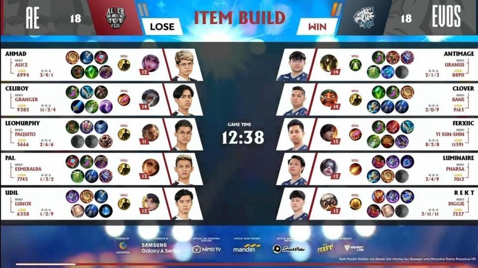 Game pertama EVOS Legends vs Alter Ego. (youtube/MPL Indonesia)