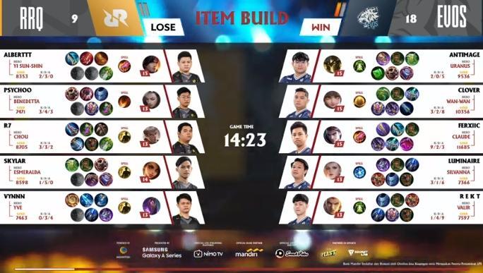 Game pertama RRQ Hoshi vs EVOS Legends. (youtube/MPL Indonesia)