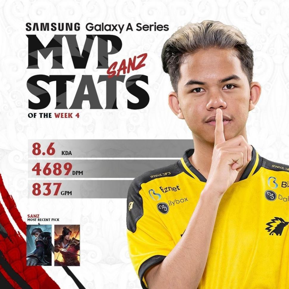 ONIC Sanz jadi MVP of The Week. (Instagram/ mpl.id.official)