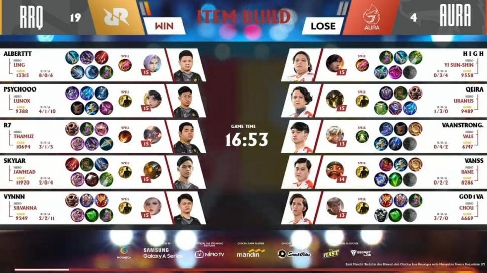Game pertama RRQ Hoshi vs Aura Fire. (youtube/MPL Indonesia)