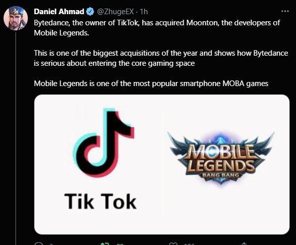 Induk Perusahaan TikTok Beli Pengembang Mobile Legends. (Twitter/ Daniel Ahmad)
