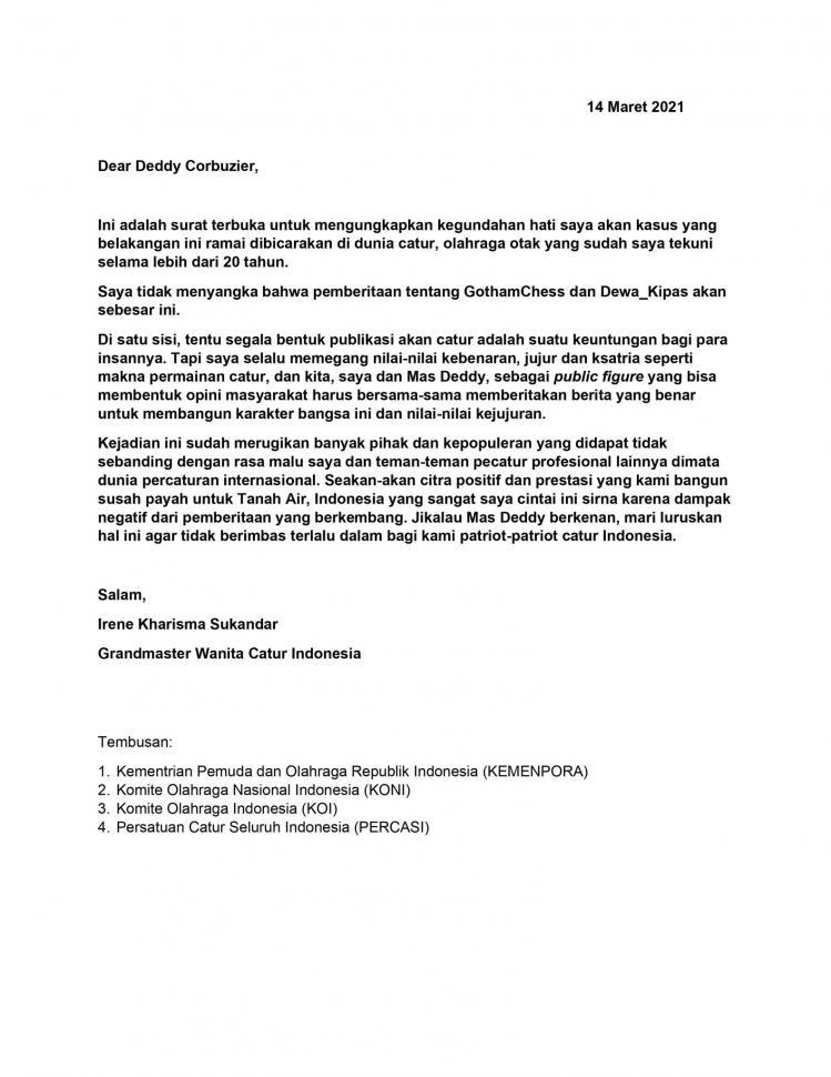 Surat terbuka Irene Sukandar - Grandmaster Wanita Catur Indonesia. (Instagram/ irene_sukandar)