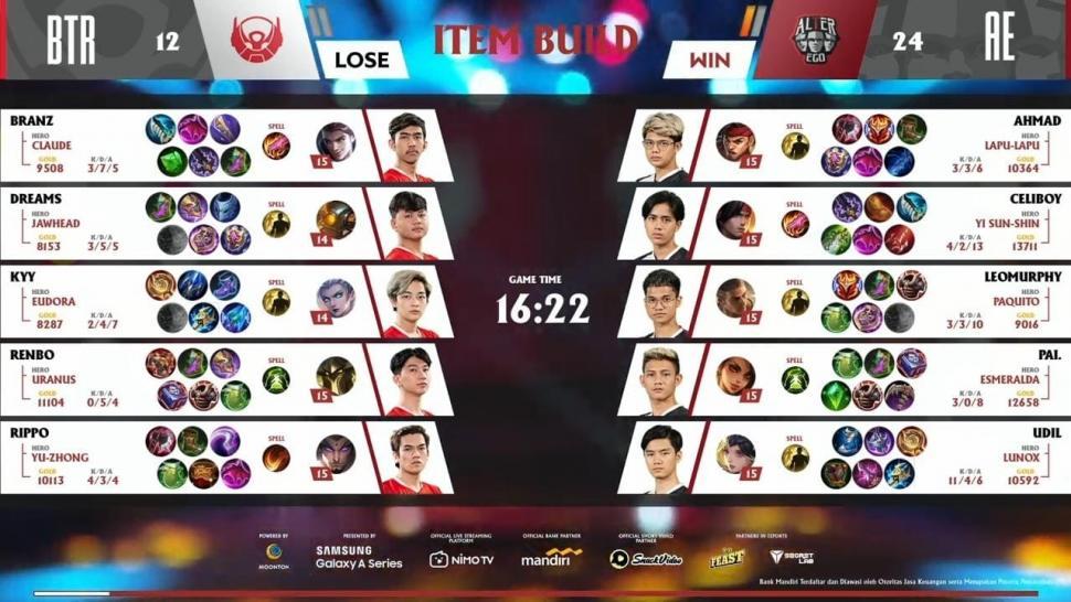 Game pertama Alter Ego vs Bigetron Alpha. (youtube/MPL Indonesia)