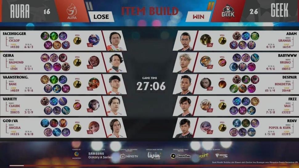 Game kedua Aura Fire vs Geek Fam. (youtube/MPL Indonesia)