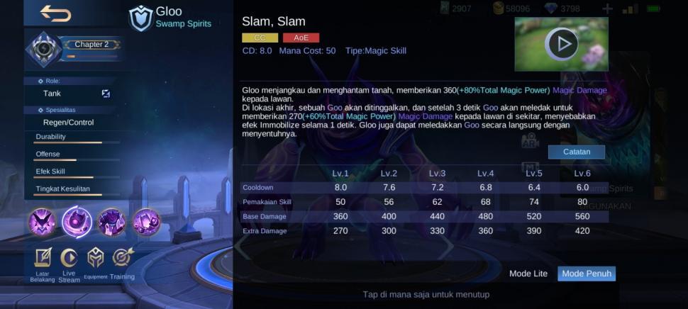 Skill satu Gloo Mobile Legends. (HiTekno.com)