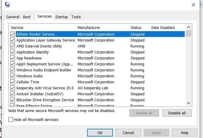 Tab Layanan Windows Tidak Responsif