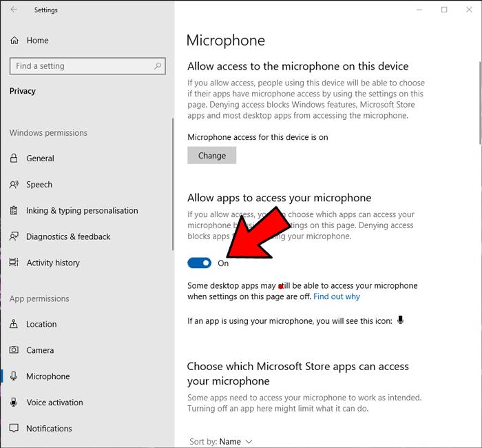 Mikrofon Tidak Berfungsi Windows Izinkan Aplikasi 2