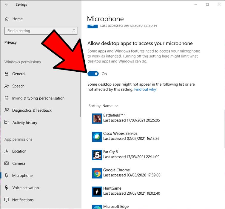 Mikrofon Tidak Berfungsi Windows Izinkan Aplikasi Desktop 2
