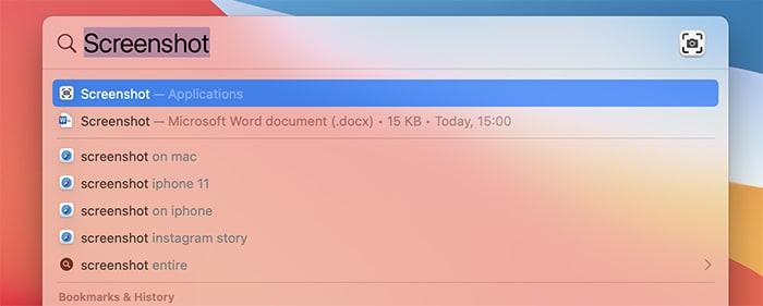 Menangkap Screenshot Kursor Mac Spotlight Search Screenshot App