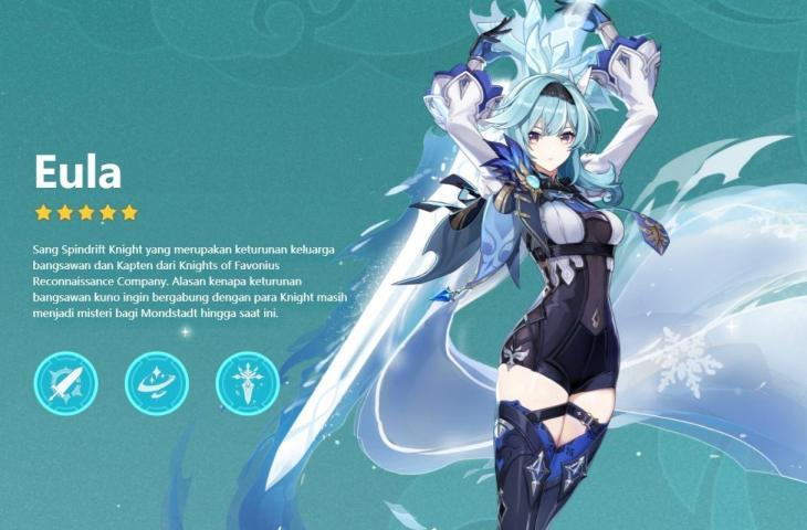 Eula - karakter baru Genshin Impact. (miHoYo)