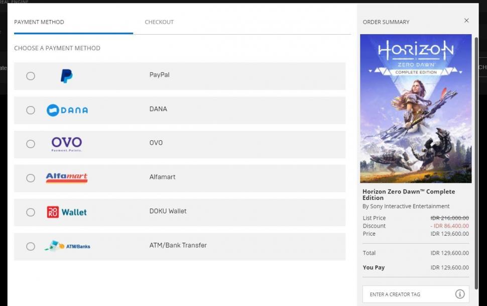 Pembayaran game di Epic Games Store mendukung Rupiah. (Epic Games Store)