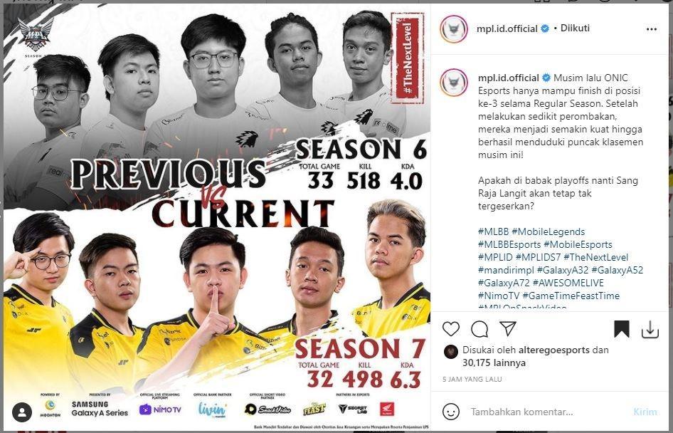 Perkembangan ONIC di MPL Indonesia. (Instagram/ mpl.id.official)