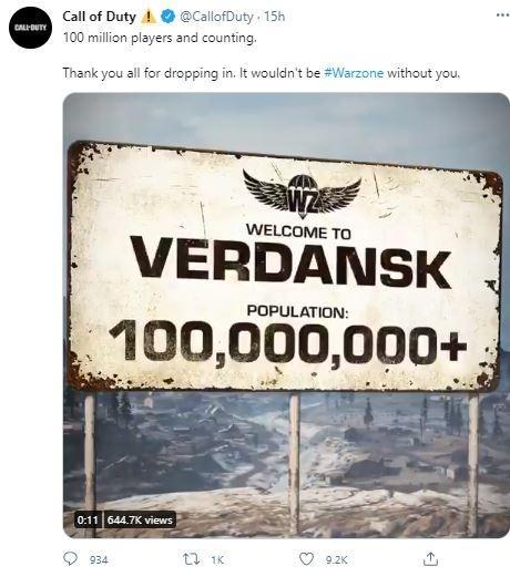 Call of Duty Warzone cetak 100 juta pemain. (Twitter/ CallofDuty)