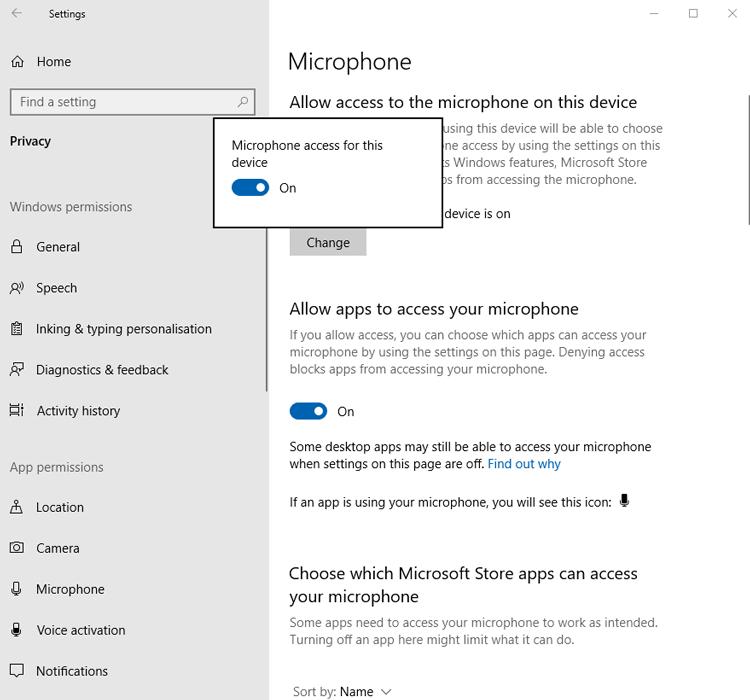 Mikrofon Tidak Berfungsi Windows Izinkan Akses 2