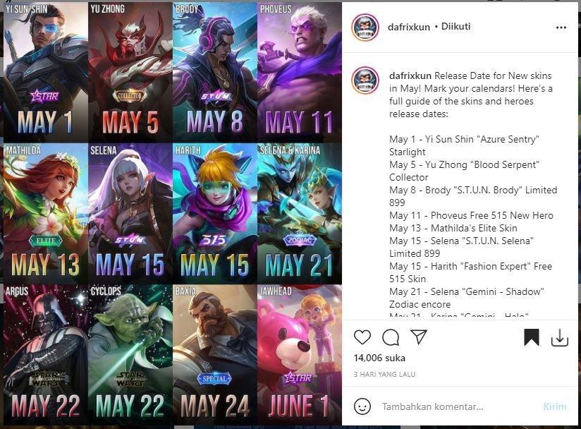 Bocoran skin dan hero baru Mobile Legends. (Instagram/ dafrixkun)