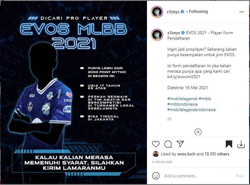EVOS sedang mencari pemain baru di divisi MLBB. (Instagram/ z3zeys)