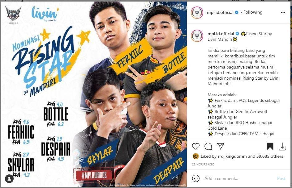 Nominasi Rising Star MPL Season 7. (Instagram/ mpl.id.official)