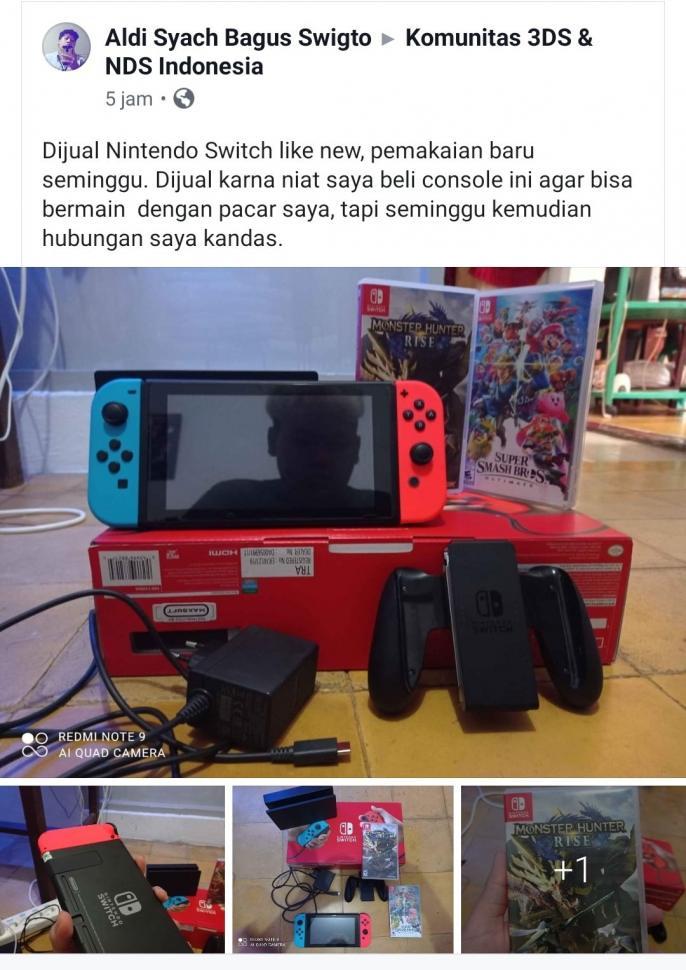 Jual Nintendo Switch. (Twitter/@gamestruggletwt)
