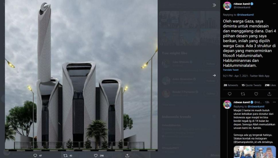 Desain masjid karya Ridwan Kamil disebut netizen mirip PS5. (Twitter/ ridwankamil)