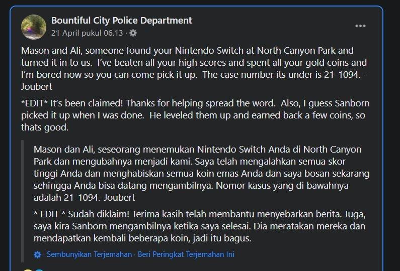Pengumuman Nintendo Switch hilang. (Facebook/ Bountiful City Police Department)