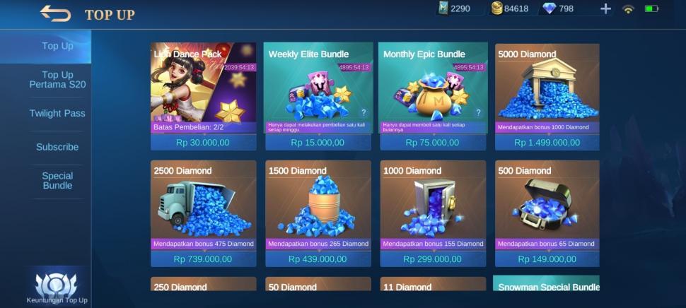 Tempat top up ML lewat Mobile Legends Store. (HiTekno)
