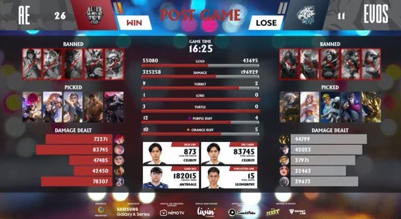 Game pertama Alter Ego vs EVOS dimenangkan oleh AE. (YouTube/ MPL Indonesia)