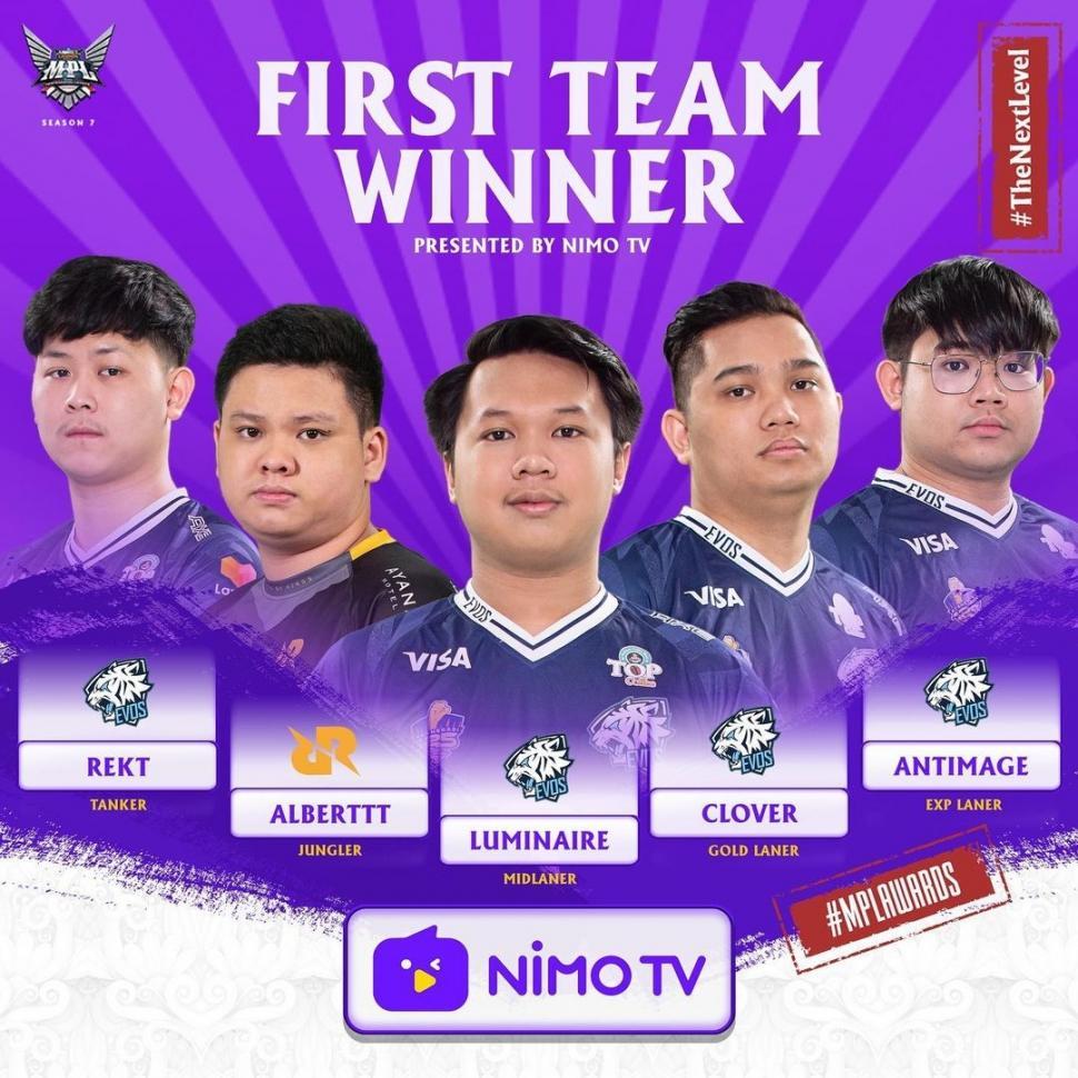 First Team Winner MPL Season 7. (Instagram/ mpl.id.official)