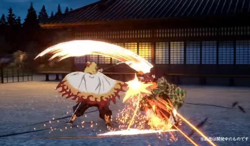 Kyojuro Rengoku di game Demon Slayer Kimetsu no Yaiba - Hinokami Keppuutan. (YouTube/ Gematsu)
