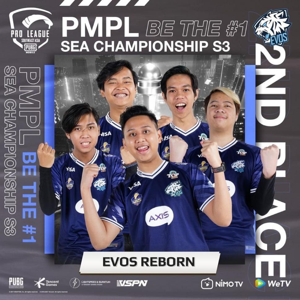 EVOS Reborn Juara 2 PMPL SEA Season 3. (Instagram/ pubgmobile.esports.id)