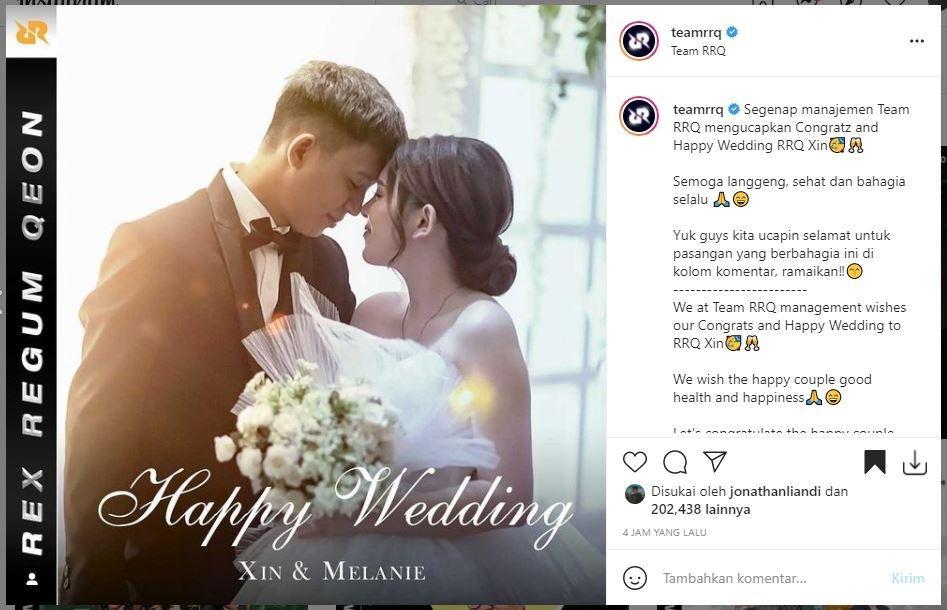 RRQ Xin resmi menikah. (Instagram/ teamrrq)