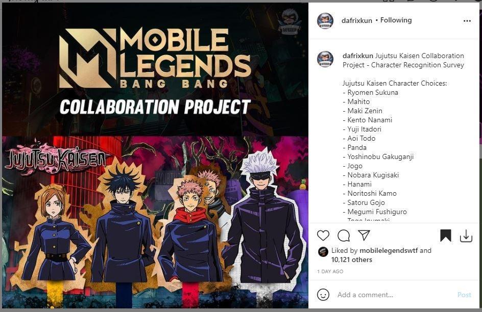 Rumor mengenai kemungkinan kolaborasi Jujutsu Kaisen dengan Mobile Legends. (Instagram/ dafrixkun)